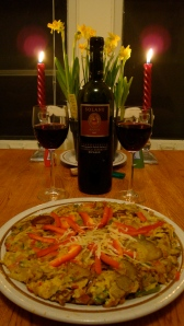 Spanish tortilla and wine by candlelight